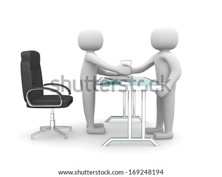 3d people - man, person hand shaking with another guy at office - stock photo