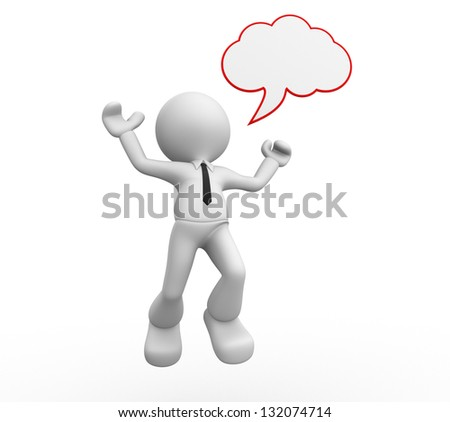3d people - man, person happy jump in air and empty bubbles - stock photo