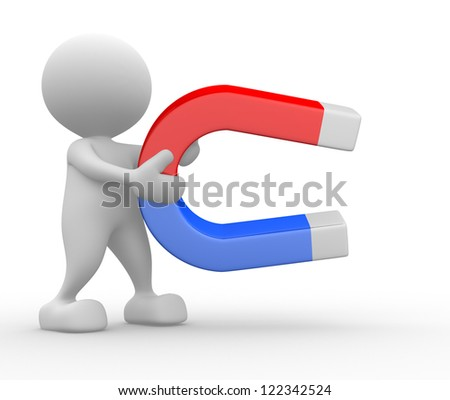 3d people - man, person hold a magnet red blue. Horseshoe - stock photo