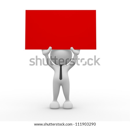 3d people - man, person holding a blank board. - stock photo