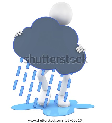 3d people - man, person holding a rainy cloud - stock photo