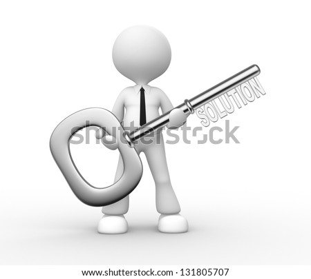 "3d people - man, person holding key with word ""solution"""