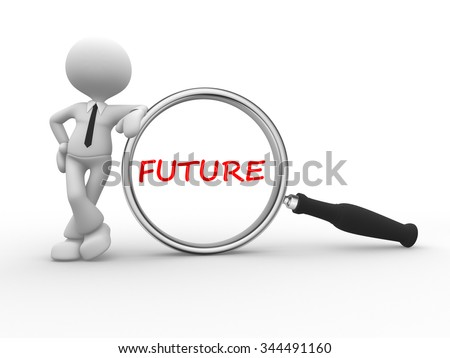 3d people - man , person holding magnifying glass looking at word text future - stock photo