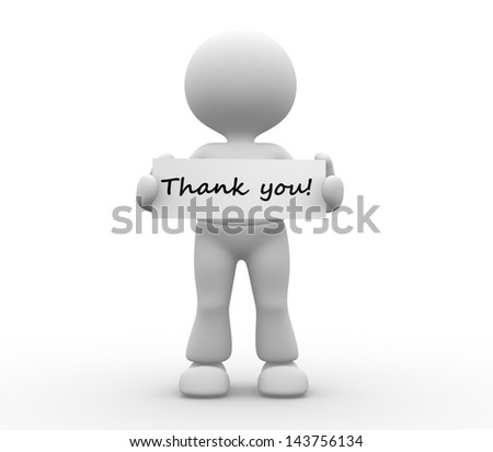 3d people - man, person holding thank you board. - stock photo