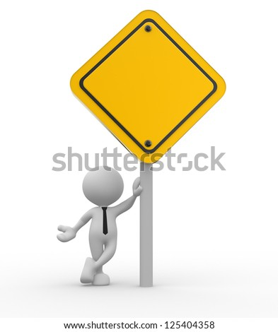 3d people - man, person holding the empty warning sign - stock photo