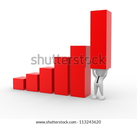 3d people - man, person holding up a bar graph, demonstrating success or achievement.