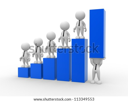 3d people - man, person holding up a bar graph. Demonstrating success or achievement
