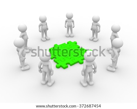 3d people - man, person in circle and pieces of puzzle ( jigsaw ) - stock photo