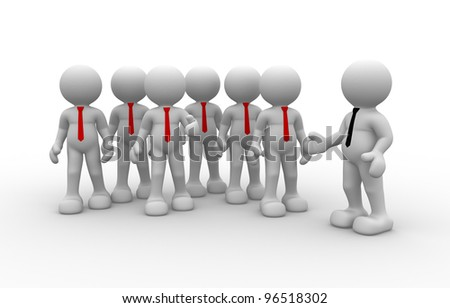 3d people - man, person in group( businessman). Leader and team