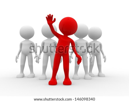 3d people - man, person in group. Leadership - stock photo
