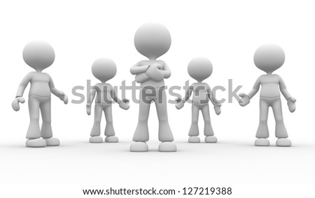 3d people - man, person in group. Leadership and team - stock photo