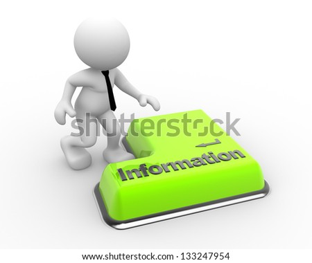 3d people - man, person information keyboard button. Businessman - stock photo