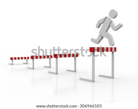 3d people - man , person jump over the barrier. Businessman