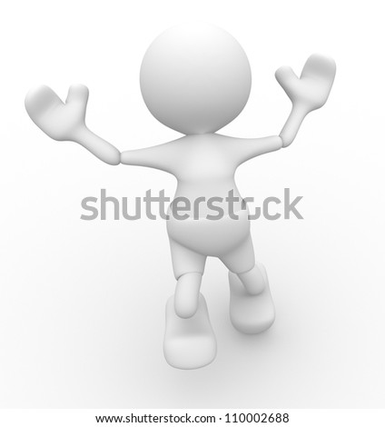 3d people -man,  person jumping. Happy