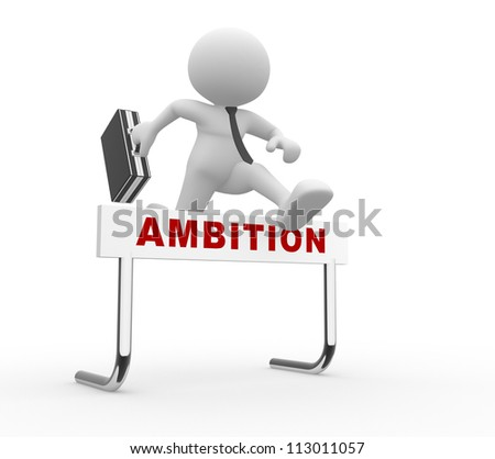 3d people - man, person jumping over a hurdle obstacle entitled ambition.