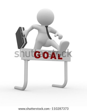 3d people - man, person jumping over a hurdle obstacle titled Goal . Businessman