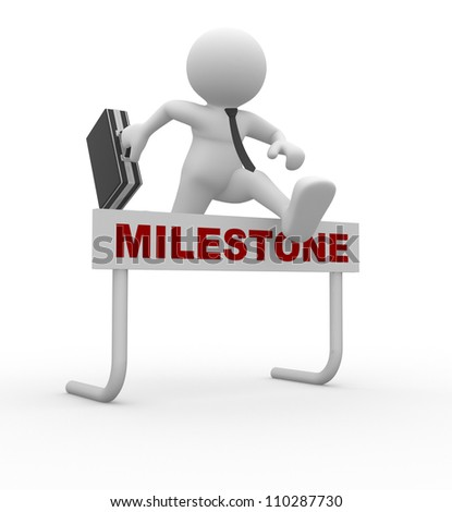 3d people - man, person jumping over a hurdle obstacle titled Milestone. Businessman