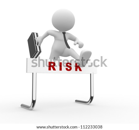 "3d people - man, person  jumping over a hurdle obstacle titled ""Risk"". Businessman"