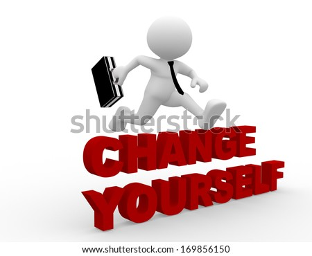3d people - man, person jumping over 'change yourself' - stock photo
