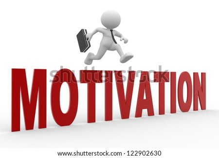"3d people - man, person jumping over word "" motivation"". Businessman - stock photo"