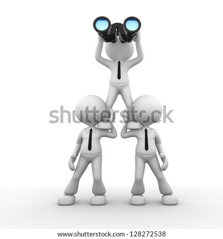3d people - man, person looking through binoculars - stock photo
