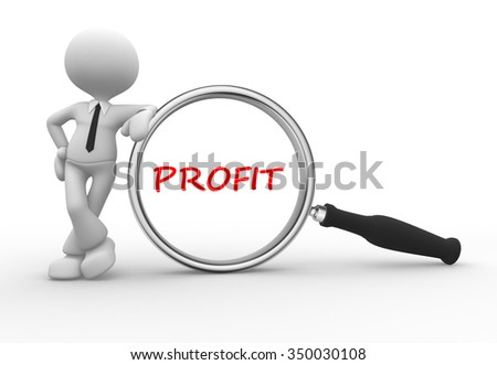3d people -man, person magnifying glass looking at word text profit
