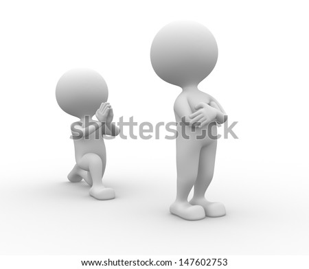 3d people - man, person on his knees asking for forgiveness