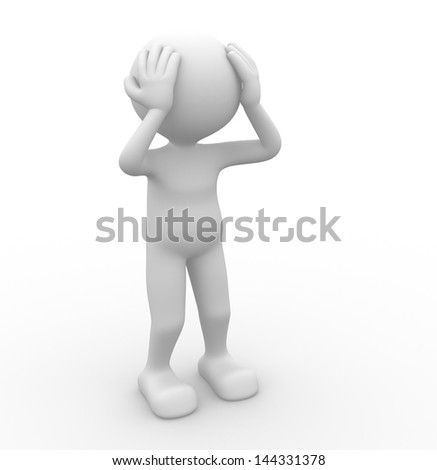 3d people - man, person - pain, worried. Sad. Stress concept , depressed. - stock photo