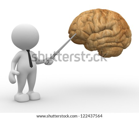 3d people - man, person pointing a brain. - stock photo