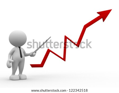 3d people - man, person pointing a graph. Successful business concept