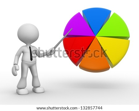 3d people - man, person pointing a pie chart. - stock photo