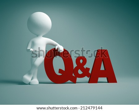 3d people - man, person pointing a word Q&A. Questions and answers  - stock photo