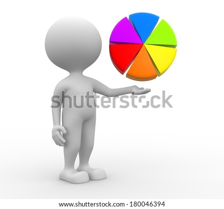 3d people - man, person pointing pie chart  - stock photo
