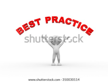 3d people - man, person pointing to circular text best practice.  - stock photo