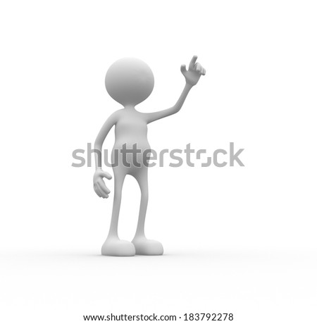 3d people - man, person pointing  up