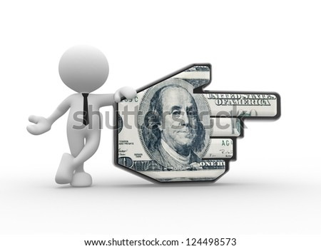 3d people - man, person pointing with hand cursor and 100  dollar.