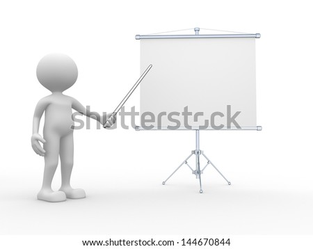 3d people - man, person presenting at a flipchart. Business board