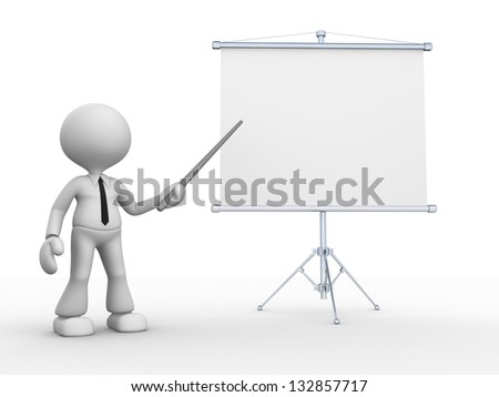 3d people - man, person presenting at flip chart.