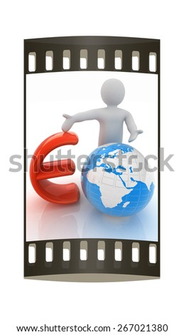 3d people - man, person presenting - euro with global concept with Earth. The film strip - stock photo