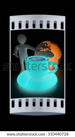 3d people - man, person presenting - Mug of coffee with milk. Global concept with Earth. The film strip - stock photo