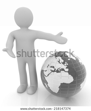 3d people - man, person presenting - pointing. Global concept with earth - stock photo