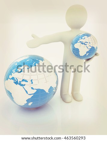 3d people - man, person presenting - pointing. Global concept with earth. 3D illustration. Vintage style.