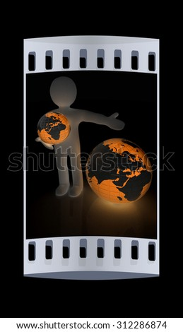 3d people - man, person presenting - pointing. Global concept with earth. The film strip - stock photo