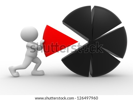 3d people - man, person pushing a piece of a pie chart - stock photo