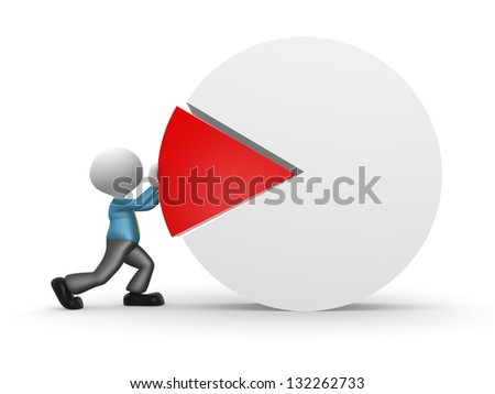 3d people - man, person pushing a piece of a pie chart