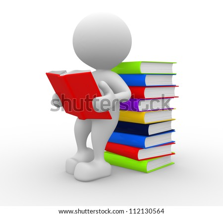 3d people - man, person reads a book, leaning back against a pile of books - stock photo