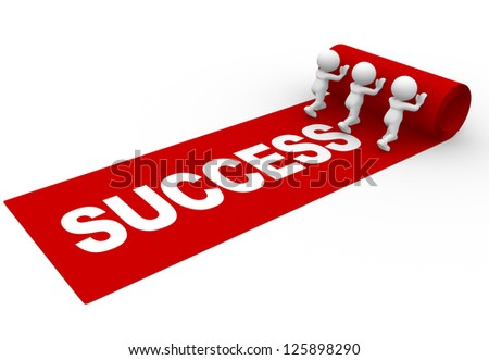 "3d people - man, person rolling out the red carpet and word ""success"" - stock photo"