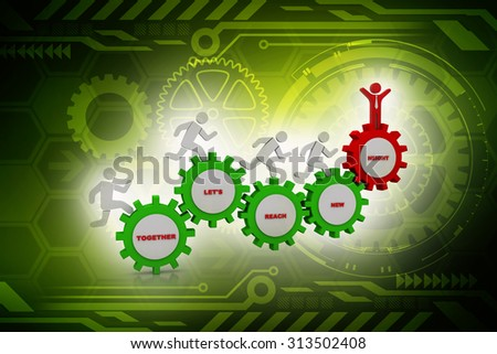 3d people - man, person running in gear wheels. Businessman and gear mechanism