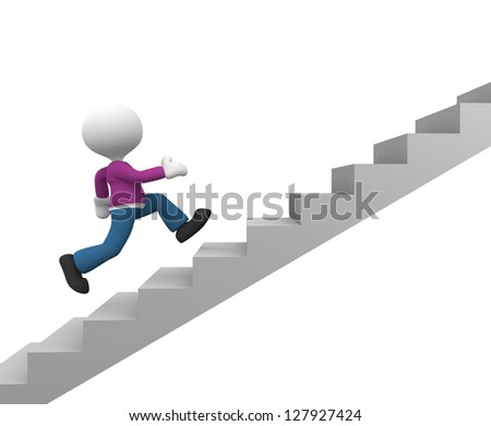 3d people - man, person running on stairs. To success - stock photo
