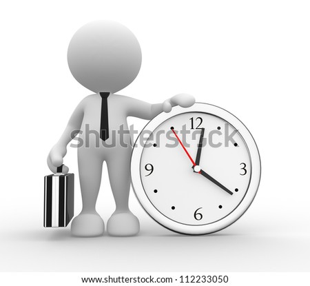 3d people - man, person running out of time. A clock